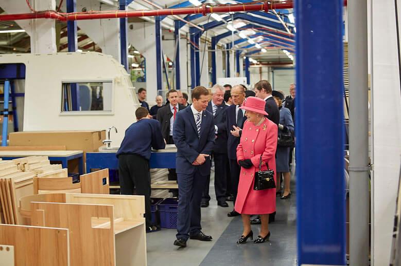HM The Queen visiting Bailey Caravans
