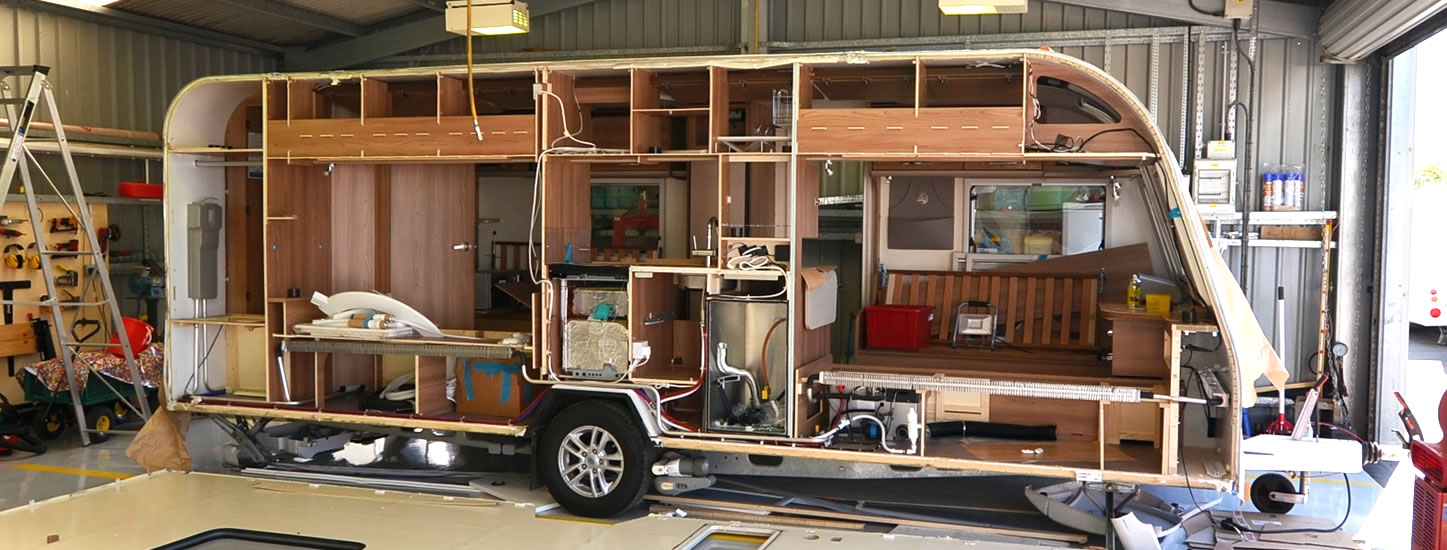 Bailey caravan in pieces, part of repair job